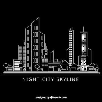 Main ville moderne dessiné fond noir