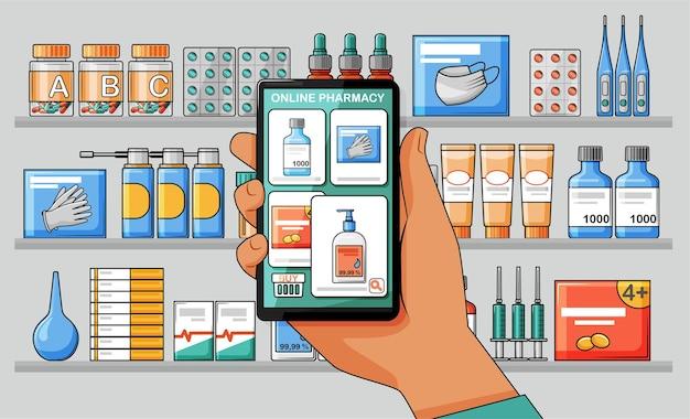 Main avec votre smartphone avec l'application de pharmacie en ligne