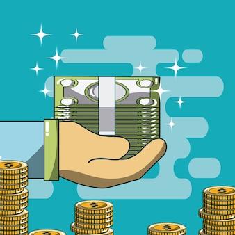 Main avec wad de conception graphique d'argent vector illustration