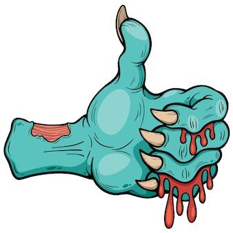 Main de zombie de dessin animé