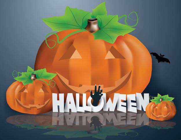 La main de zombie émerge du texte halloween