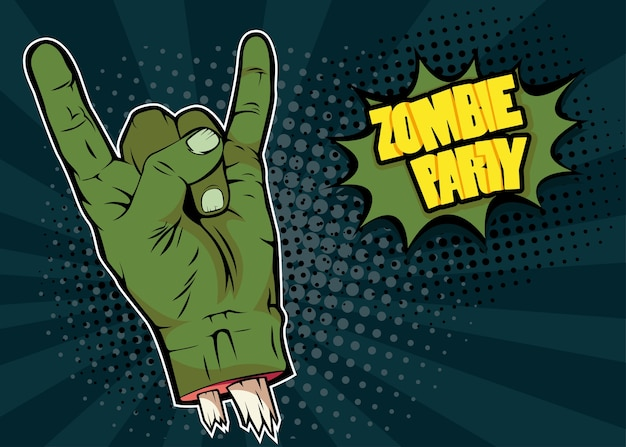 Main de zombie rock n roll et inscription zombie party