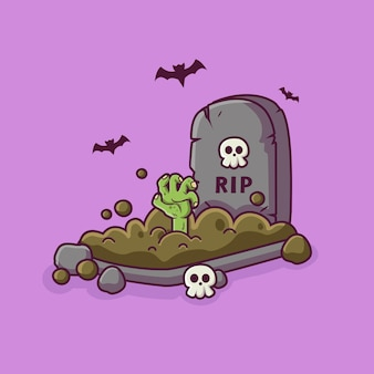Main de zombie sortant de l'illustration de dessin animé de cimetière d'halloween fond d'ellement d'halloween