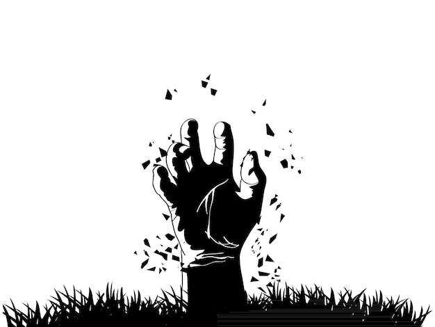 Main de zombie sortant de la tombe