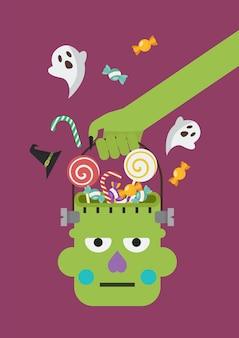Main de zombie tenant un panier de tête de zombie vert. illustration vectorielle de style plat.