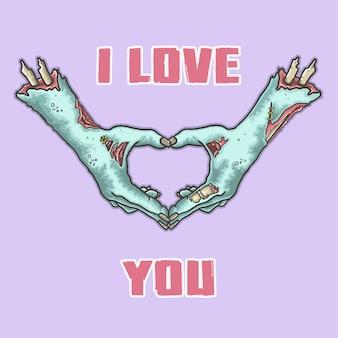 Main de zombie vous aime