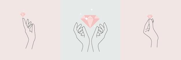 Mains abstraites serties de diamant doigts de contour féminin minimal style de contour d'illustration vectorielle