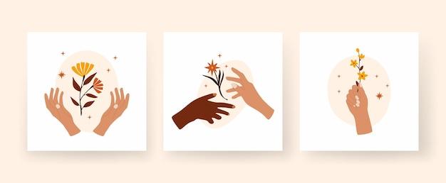Mains abstraites tenant des brindilles avec des fleurs