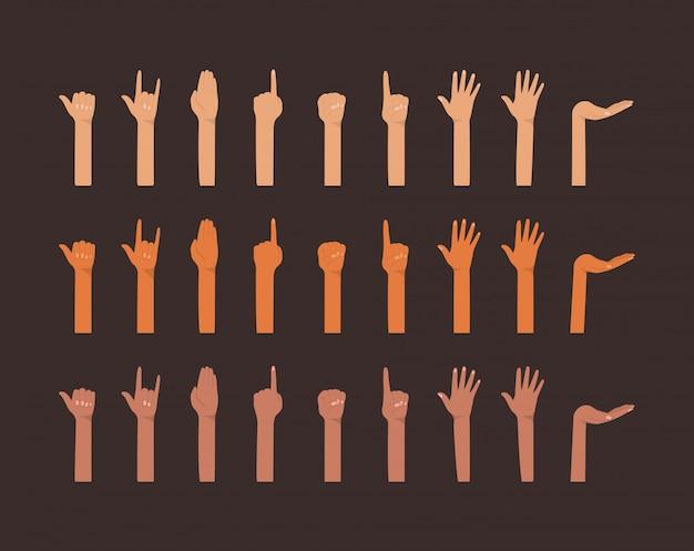 Mains en l'air de différents types de conception de peaux, race multiethnique de personnes de diversité et thème de la communauté
