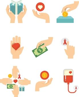 Mains avec amour pour symbole de la charité