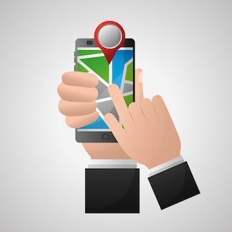 Mains de l'application de navigation gps tenant la carte de localisation rouge de téléphone portable