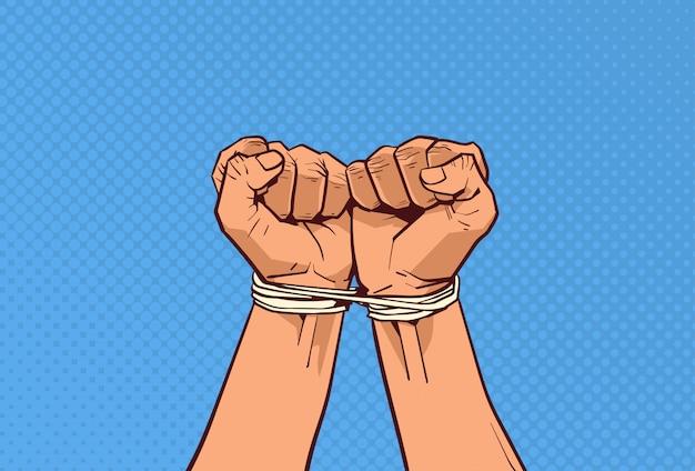 Mains attachées avec un croquis de corde sur du pop art rétro
