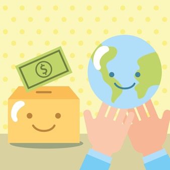 Les mains avec la boîte du monde kawaii argent don de charité