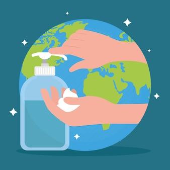 Mains avec bouteille antibactérienne