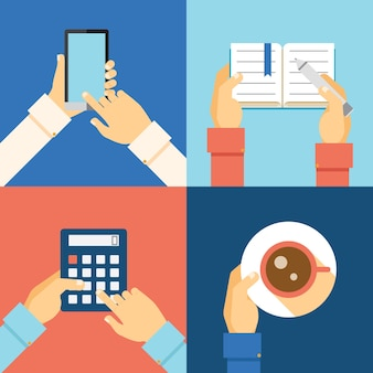 Mains de bureau: smartphone, calculatrice, tasse de café et prise de notes