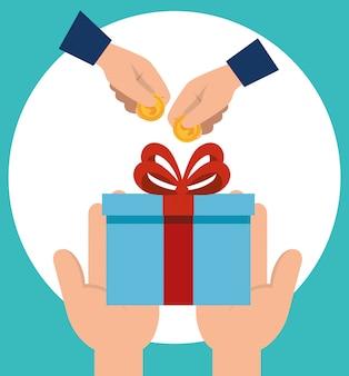 Mains avec des cadeaux et des pièces