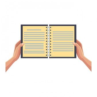Mains avec cahier ouvert
