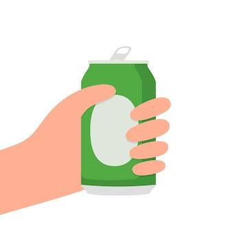 Mains avec une canette de bière