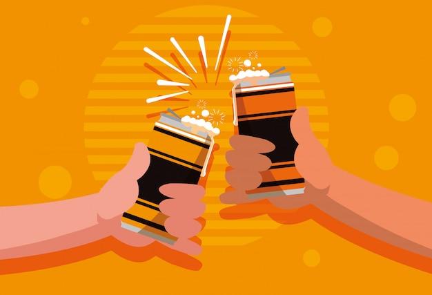 Mains avec des canettes de bière icône isolé