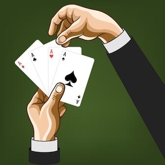 Mains avec des cartes de jeu. bande dessinée