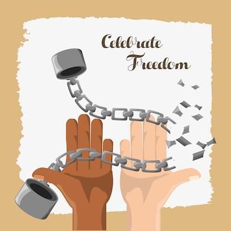 Mains cassées de la chaîne pour célébrer la journée de la liberté