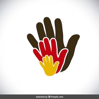 Mains de charité colorées