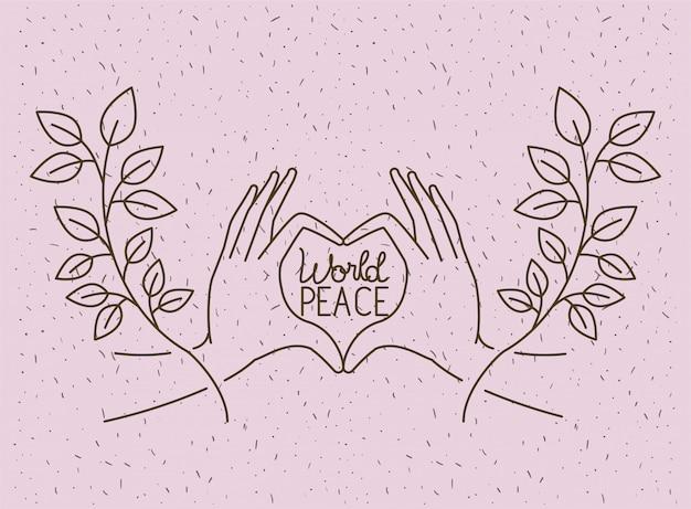 Mains avec coeur paix mondiale