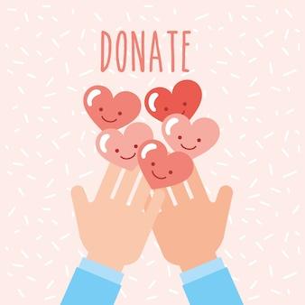 Mains avec des coeurs kawaii aiment faire un don de charité