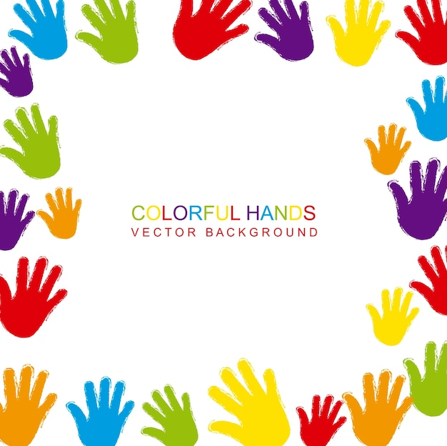 Mains colorées avec un espace pour l'illustration vectorielle copie