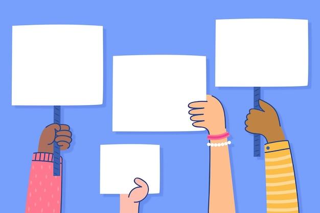 Mains avec concept de pancartes