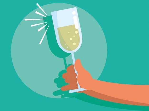 Mains avec coupe de champagne