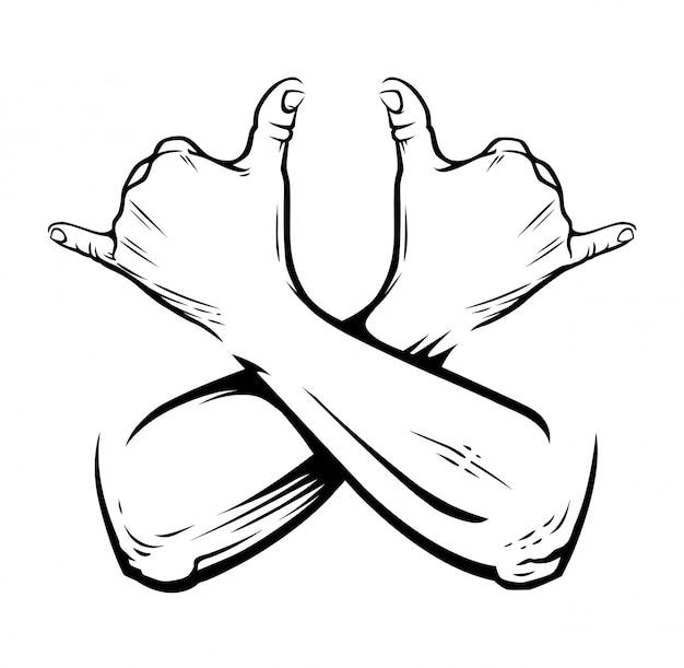 Mains croisées avec geste rastaman sur blanc. permet de signer de la fumée. illustration.