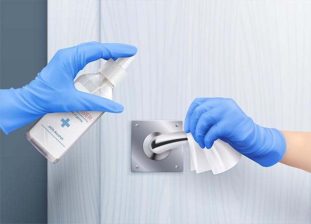 Mains dans des gants poignée de porte composition réaliste de désinfection avec des mains humaines appliquant un désinfectant désinfectant la poignée de porte