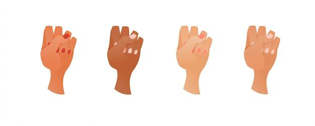 Les mains dans un poing. gestes.