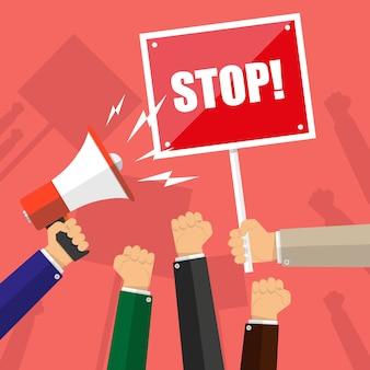 Mains de dessin animé de manifestants, main avec mégaphone et panneau d'arrêt, concept de protestation, révolution, conflit, illustration vectorielle au design plat