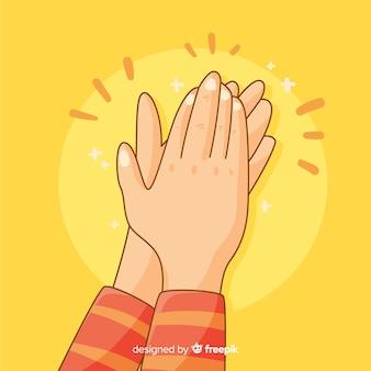 Mains dessinées à la main applaudissant fond