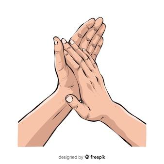 Mains dessinées à la main applaudissant