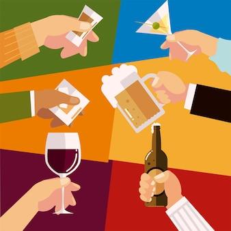 Mains avec différents verres célébration de l'alcool, illustration de la joie