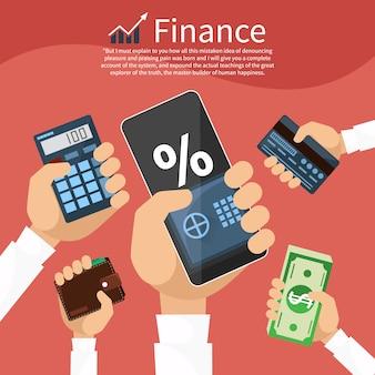 Mains avec divers éléments commerciaux tels que coffre-fort, porte-monnaie, calculatrice avec graphique boursier
