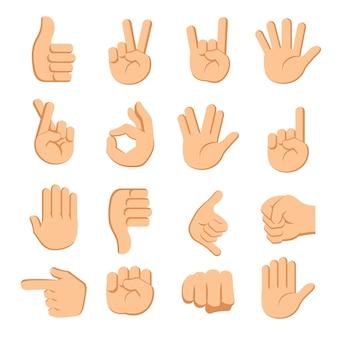 Mains doigts signaux sur fond blanc