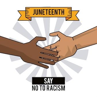 Les mains du jour du dix-neuvième disent non au racisme