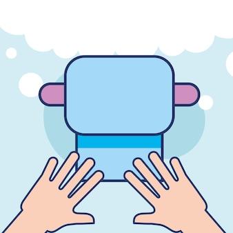 Mains avec du papier toilette salle de bain propre