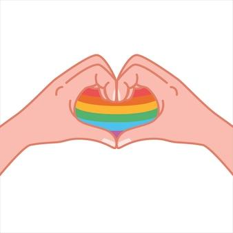 Mains faisant un geste en forme de coeur de symbole de coeur un message d'amour montrant je t'aime