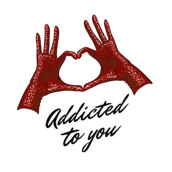 Mains faisant signe de coeur gants rouges avec des paillettes