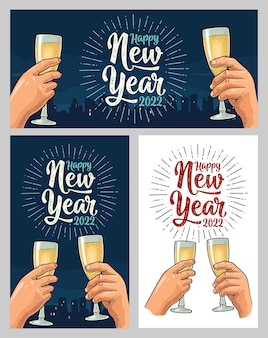 Mains féminines et masculines tenant et tintant avec deux verres de champagne.