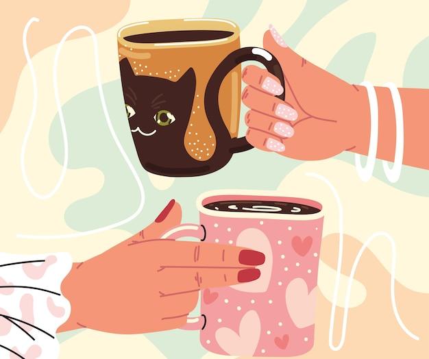Mains féminines avec des tasses
