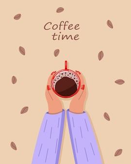 Les mains des femmes tiennent une tasse de café. l'heure du café texte. vue de dessus. illustration vectorielle.