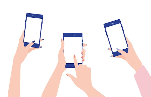 Les mains des femmes tiennent les téléphones portables et leurs doigts touchent les écrans.