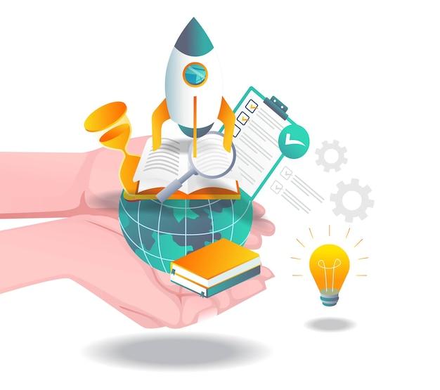 Les mains avec la fusée d'idée de lancement du monde de l'éducation
