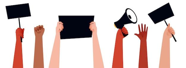 Les mains des gens protestant et tenant un mégaphone, des pancartes pour leurs droits sur fond blanc.